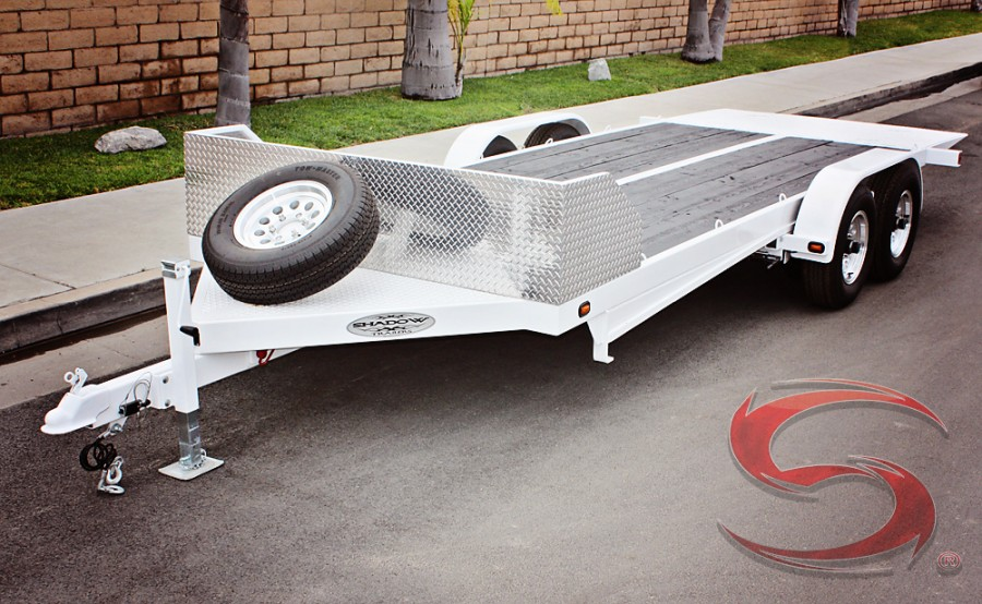 SHAD UT Custom Flatbed Trailer Powder Coated White