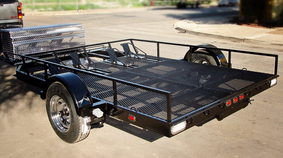 Custom Motorcycle Trailer Powder Coated Black - Shadow Trailers