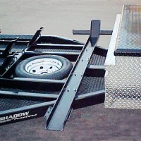 Custom Built Motorcycle Trailer with Mesh Deck and Custom Box - Shadow Trailers